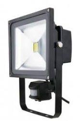 LED reflektor 30W 4500K IP65 2100lumen fekete mozgásérzékelős R-SMDM-30W