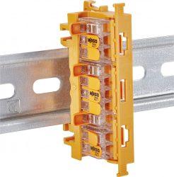 vezetékösszekötő adapter DIN profilsínre narancssárga WAGO-221-500