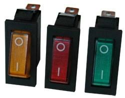 műszerkapcsoló keskeny világítós sárga 1 áramkörös 10A/250V