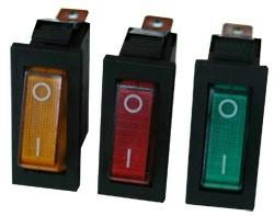 műszerkapcsoló keskeny világítós zöld   1 áramkörös 10A/250V