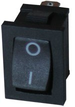 műszerkapcsoló mini fekete 6A/250V