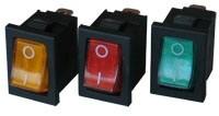 műszerkapcsoló mini világítós piros 3A/250V