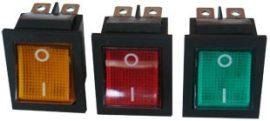 műszerkapcsoló nagy világítós piros 10A/250V