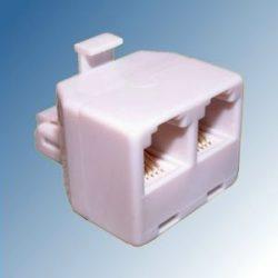 Telefonosztó kettes 6P4C dugó-2xaljzat bedugható TS16-2-WH